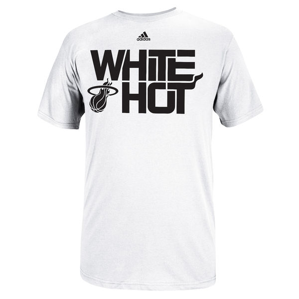 NBA Men adidas Miami Heat White Hot Playoffs Slogan TShirt White