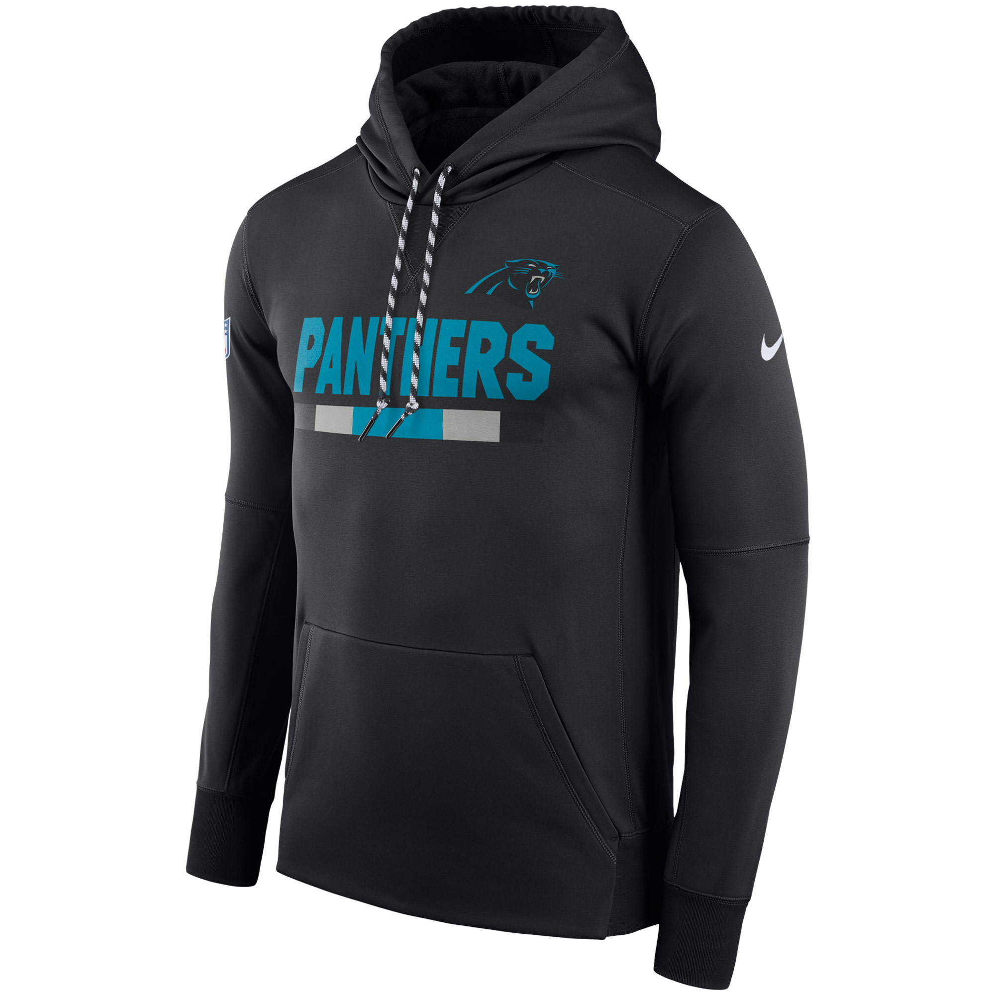 NFL Men Carolina Panthers Nike Black Sideline ThermaFit Performance PO Hoodie