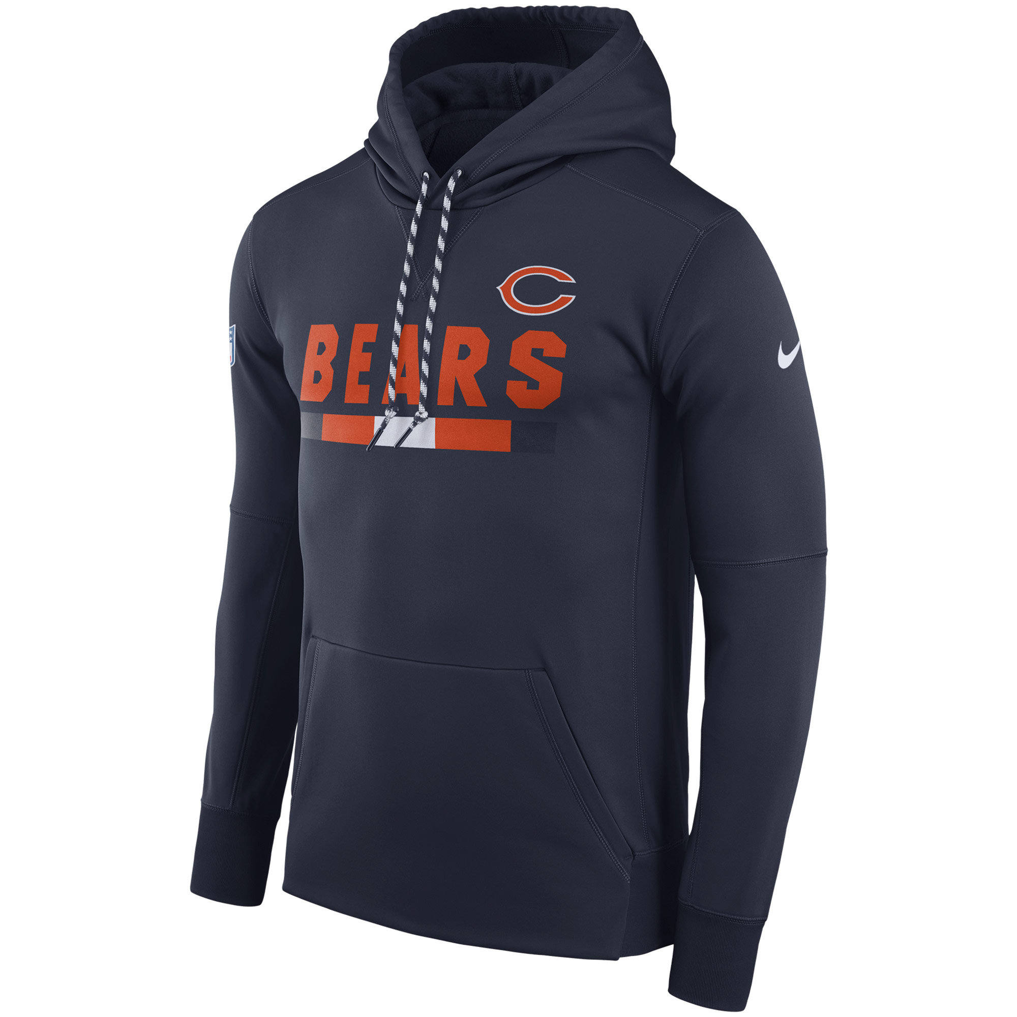 NFL Men Chicago Bears Nike Navy Sideline ThermaFit Performance PO Hoodie