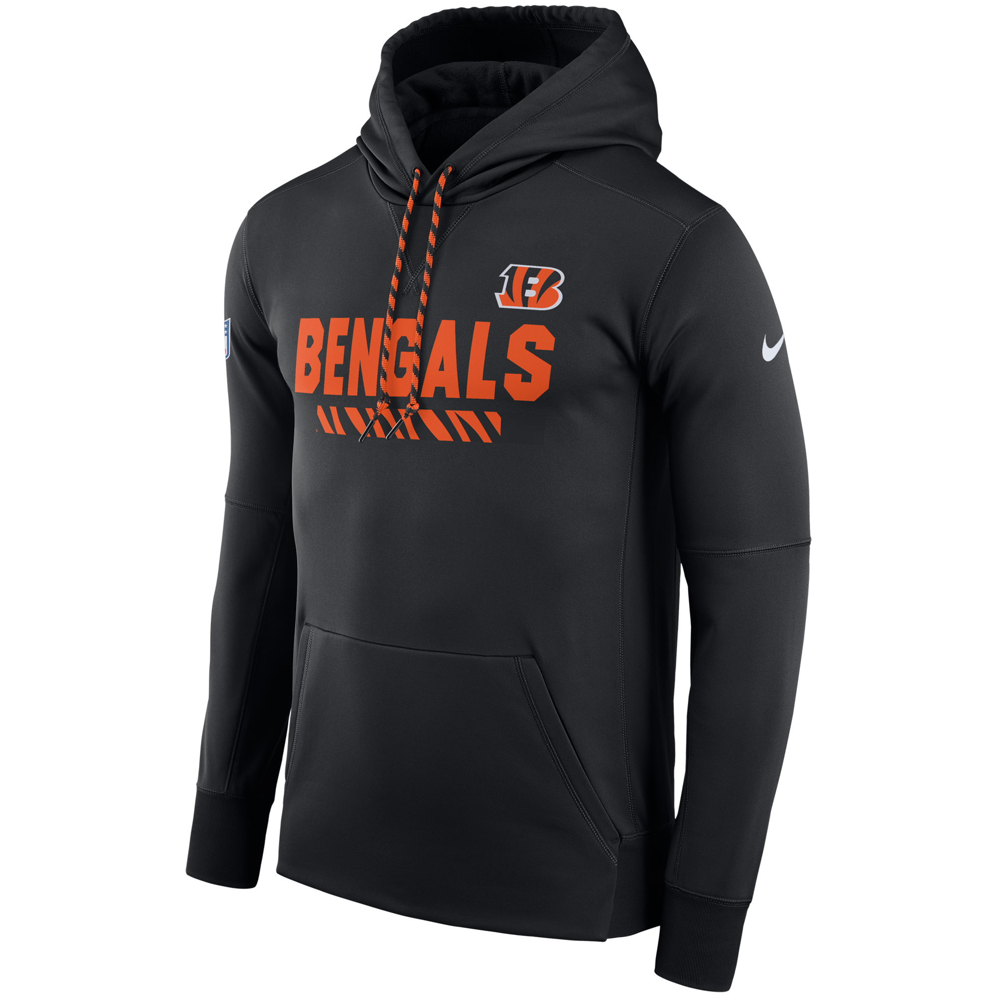 NFL Men Cincinnati Bengals Nike Black Sideline ThermaFit Performance PO Hoodie