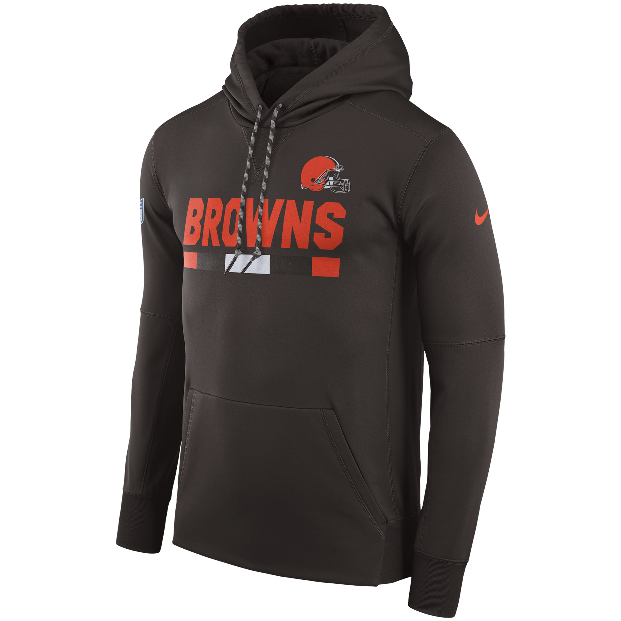 NFL Men Cleveland Browns Nike Brown Sideline ThermaFit Performance PO Hoodie