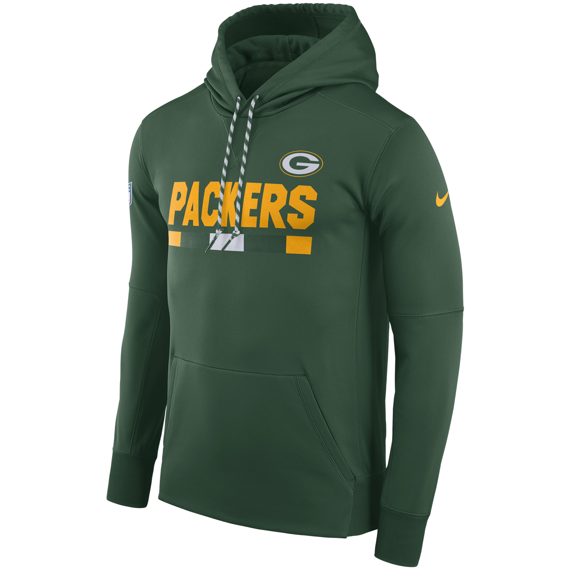 NFL Men Green Bay Packers Nike Green Sideline ThermaFit Performance PO Hoodie