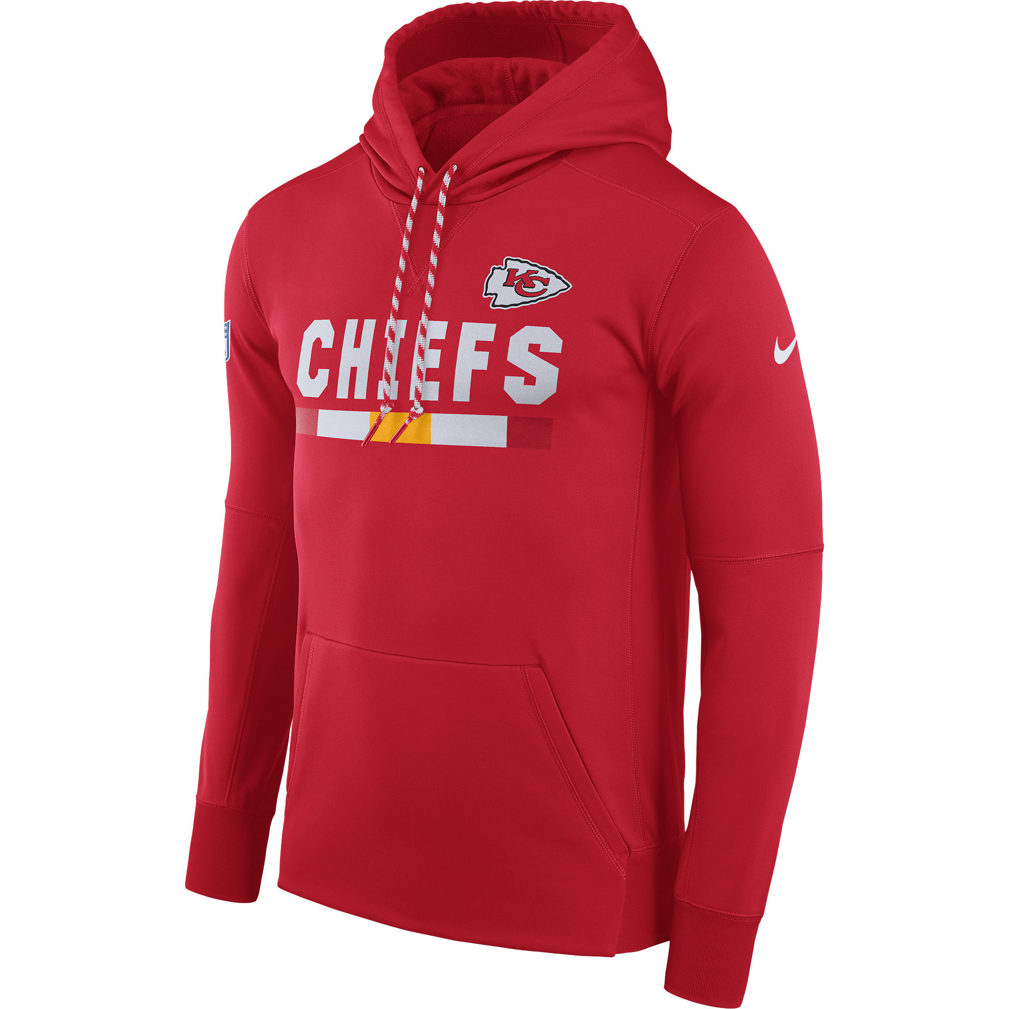NFL Men Kansas City Chiefs Nike Red Sideline ThermaFit Performance PO Hoodie