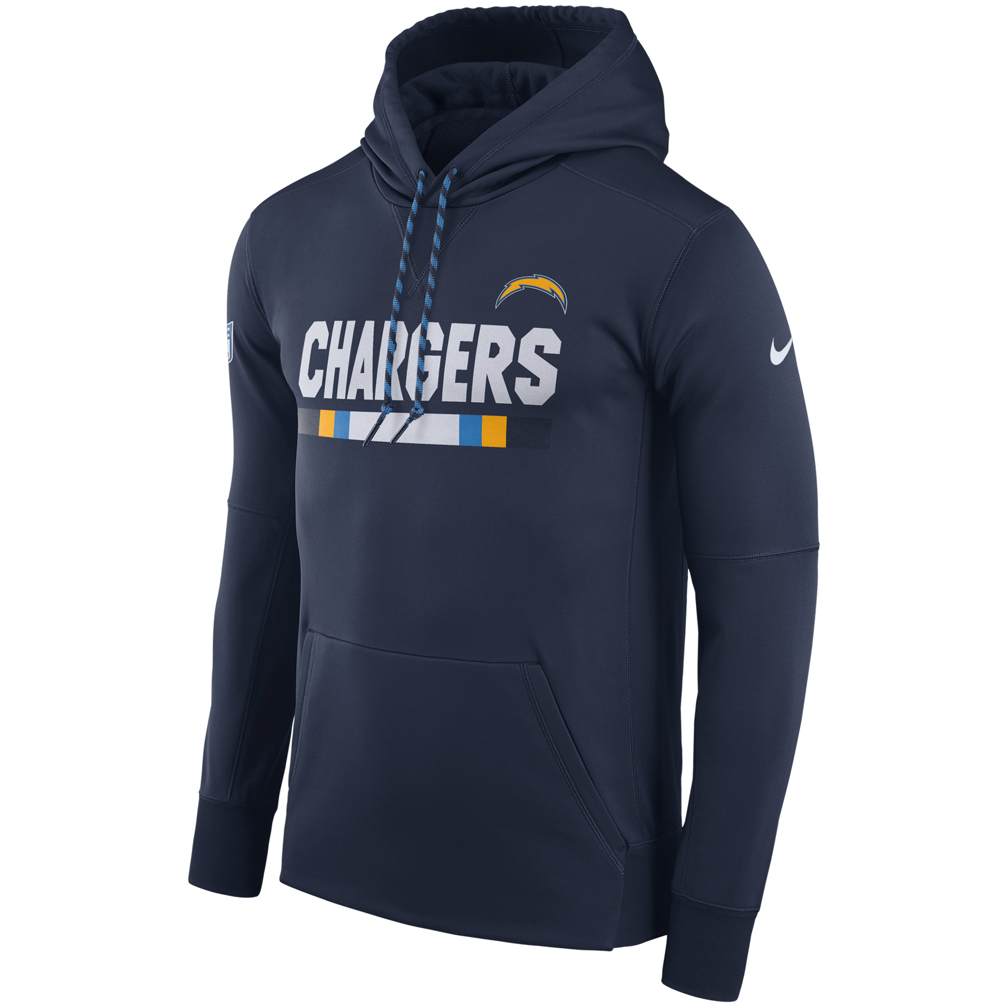 NFL Men Los Angeles Chargers Nike Navy Sideline ThermaFit Performance PO Hoodie