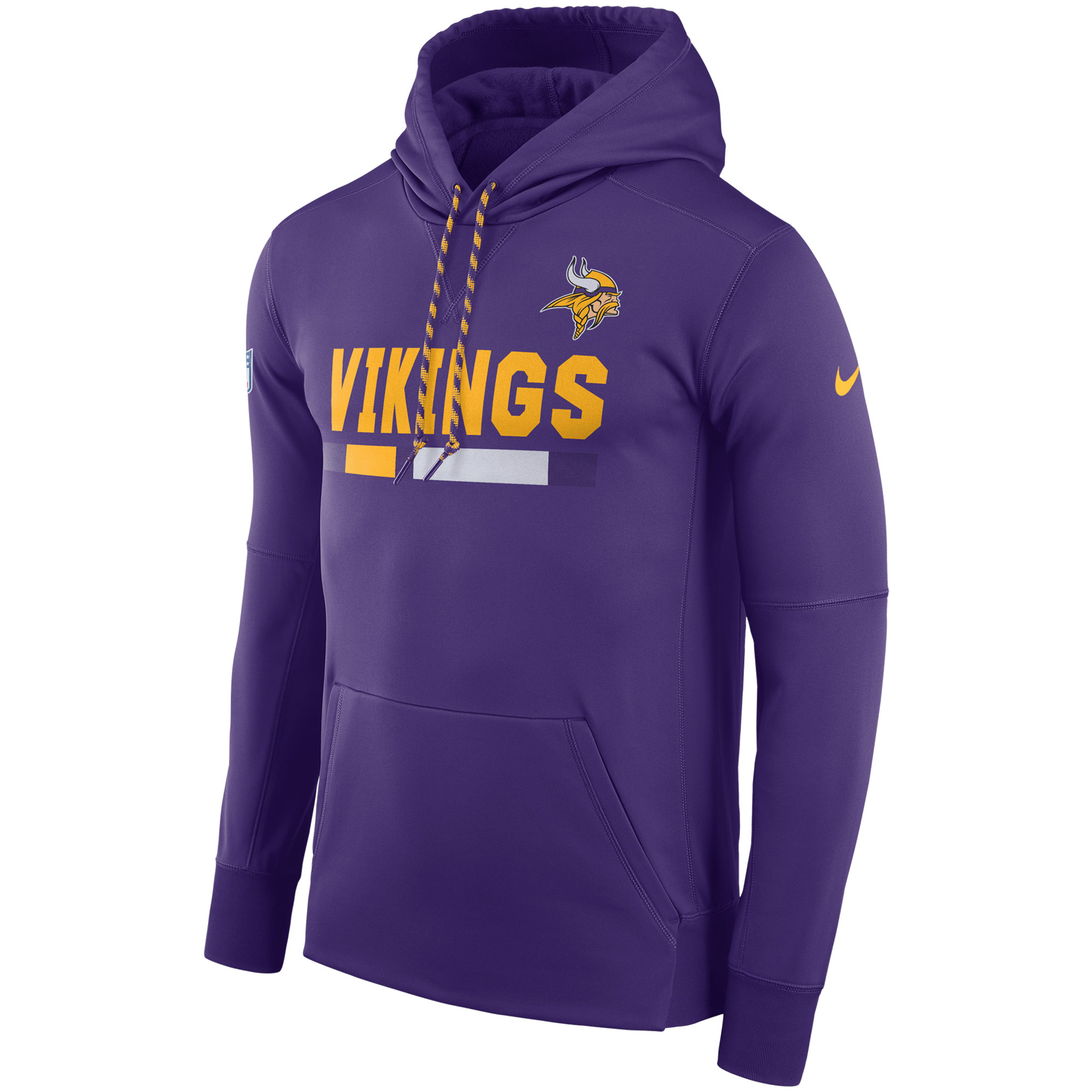 NFL Men Minnesota Vikings Nike Purple Sideline ThermaFit Performance PO Hoodie