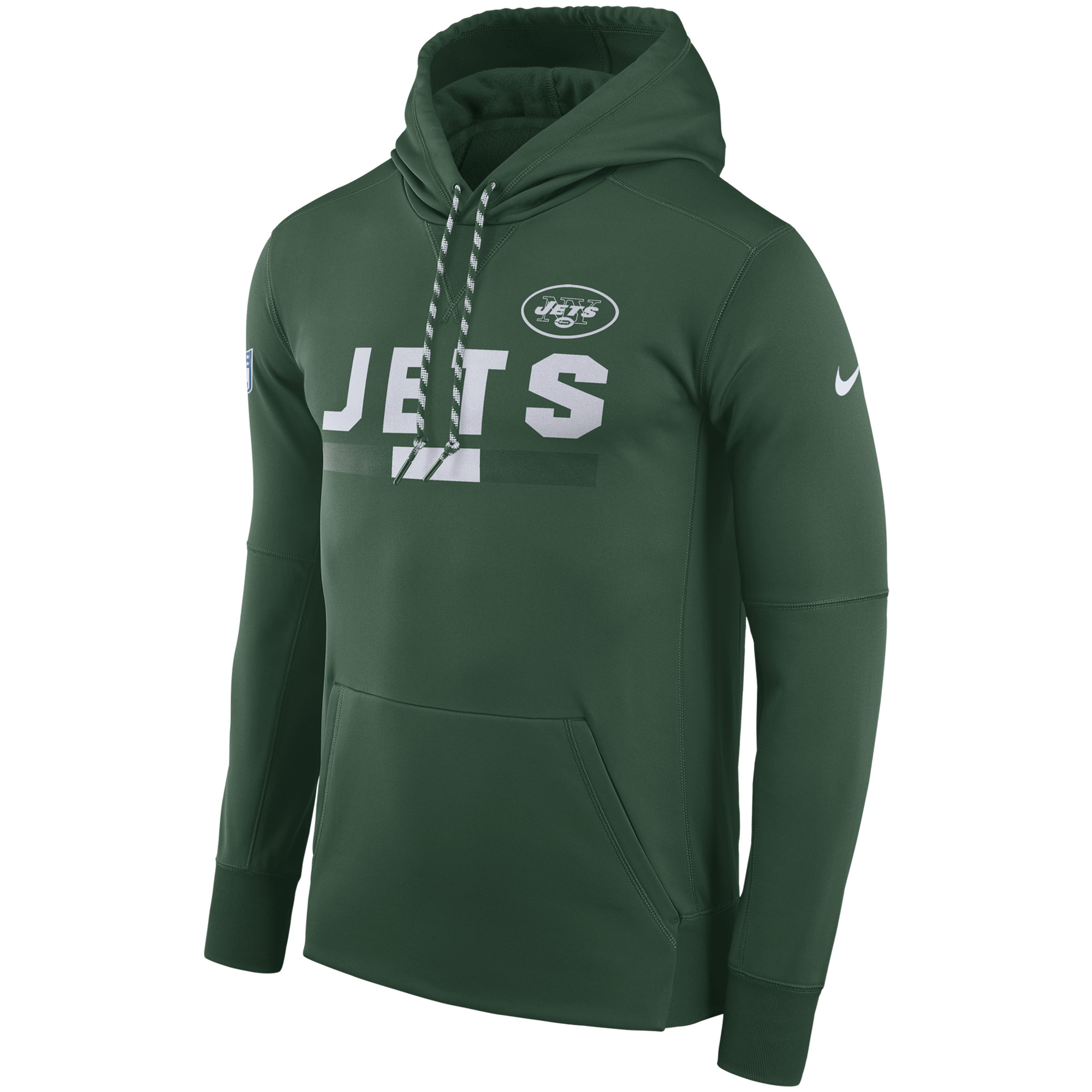 NFL Men New York Jets Nike Green Sideline ThermaFit Performance PO Hoodie