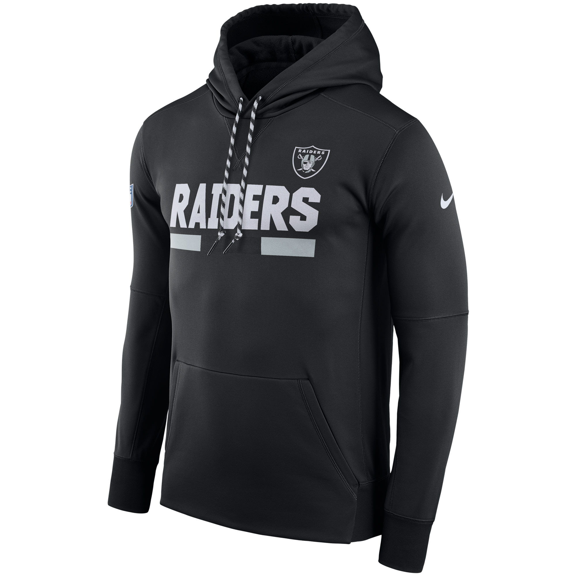 NFL Men Oakland Raiders Nike Black Sideline ThermaFit Performance PO Hoodie