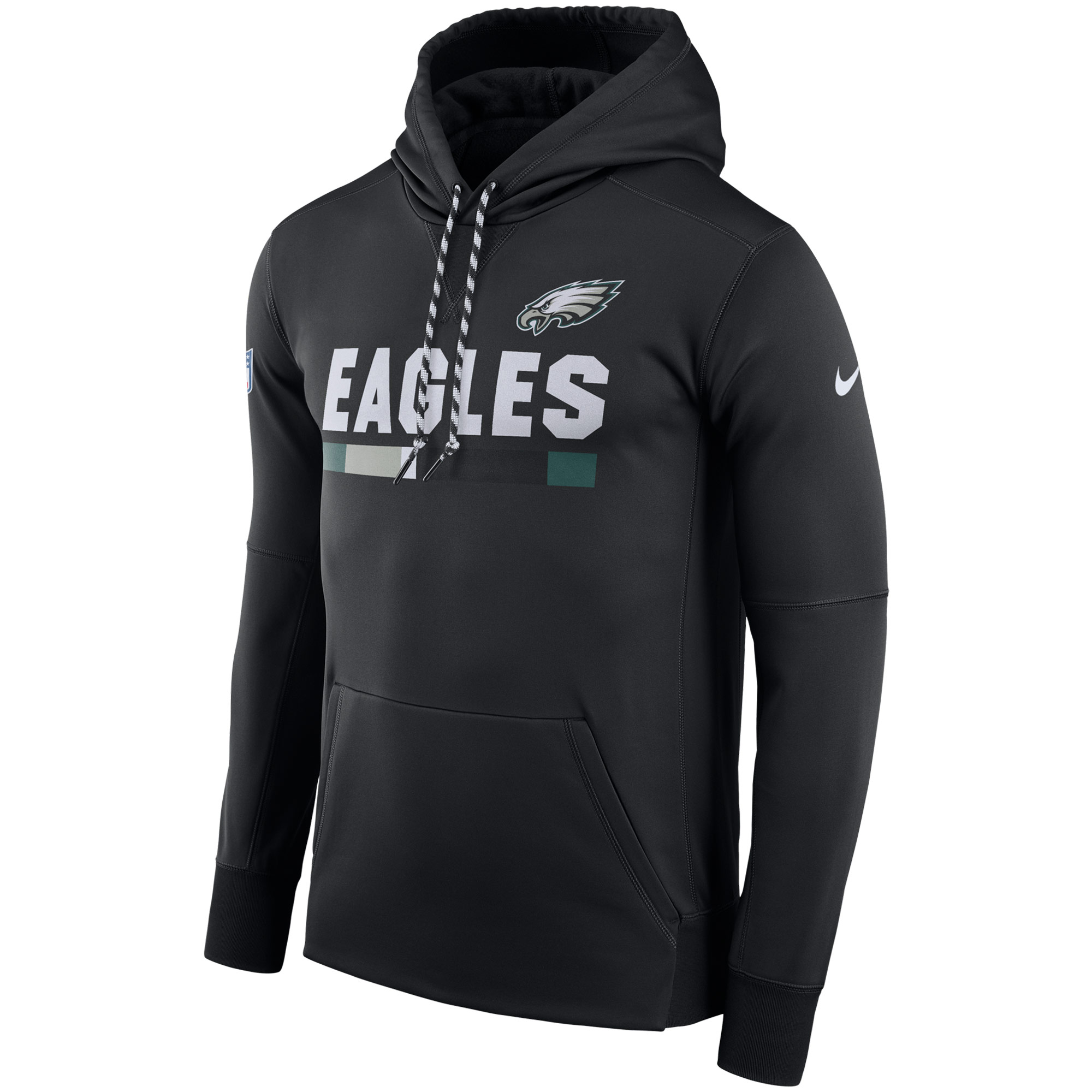 NFL Men Philadelphia Eagles Nike Black Sideline ThermaFit Performance PO Hoodie