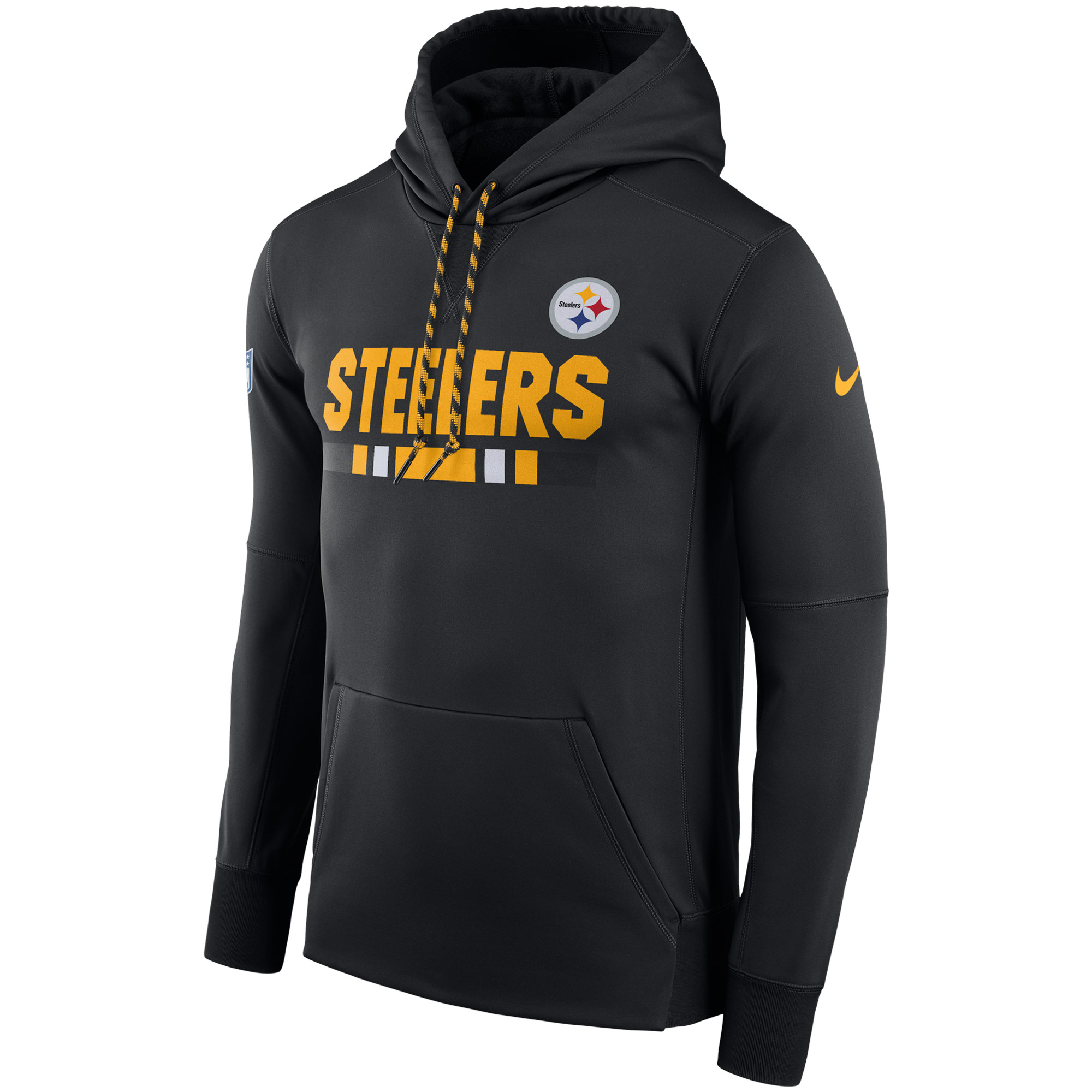NFL Men Pittsburgh Steelers Nike Black Sideline ThermaFit Performance PO Hoodie