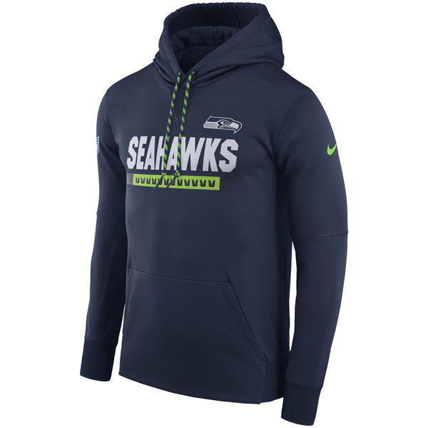 NFL Men Seattle Seahawks Nike Navy Sideline ThermaFit Performance PO Hoodie