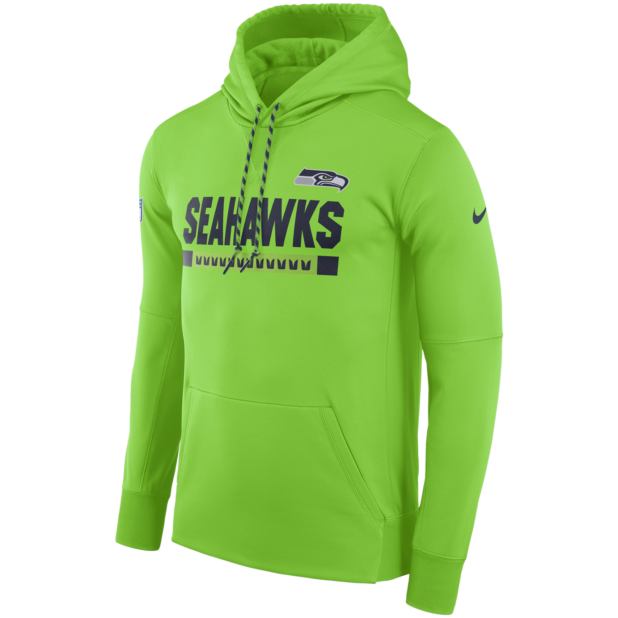 NFL Men Seattle Seahawks Nike Neon Green Sideline ThermaFit Performance PO Hoodie