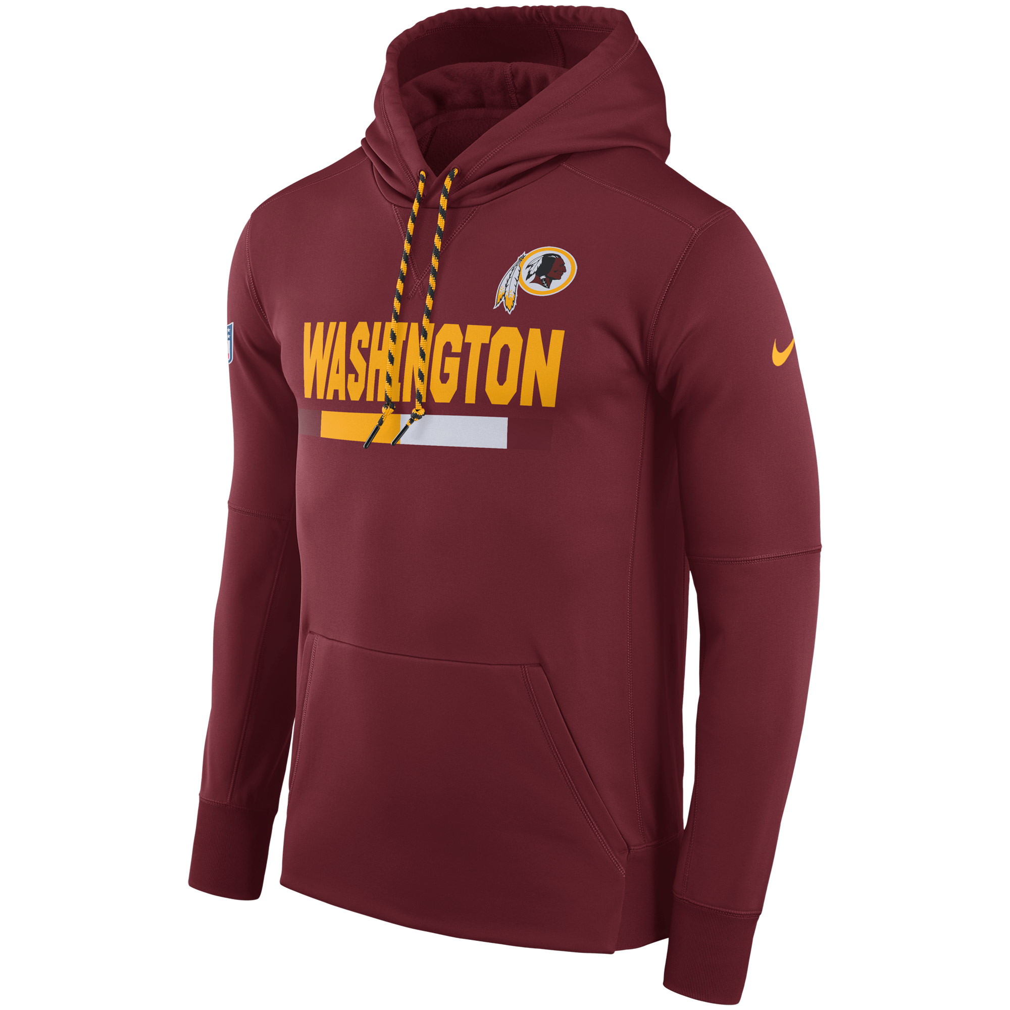 NFL Men Washington Redskins Nike Burgundy Sideline ThermaFit Performance PO Hoodie