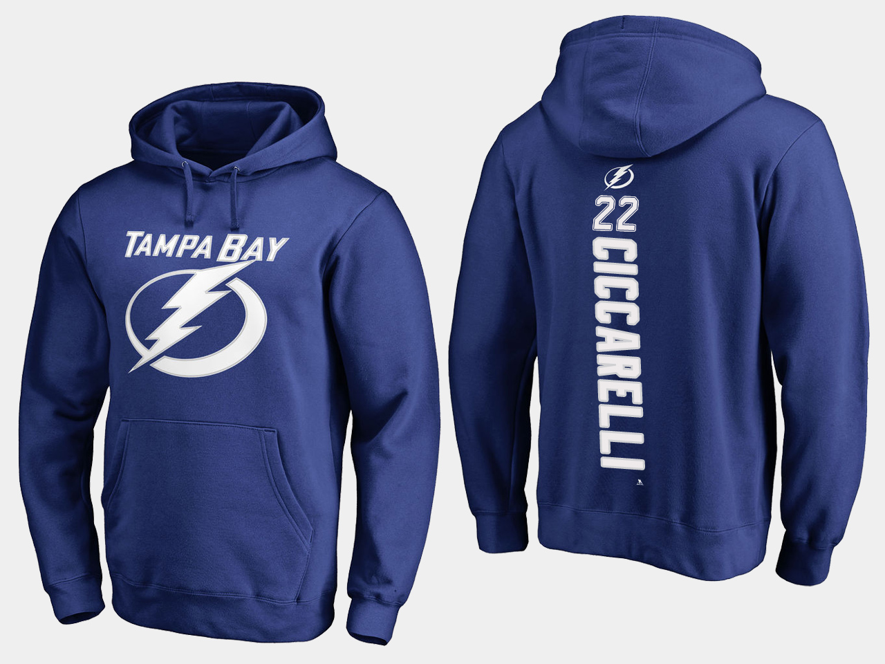 NHL Men adidas Tampa Bay Lightning 22 Ciccarelli blue hoodie