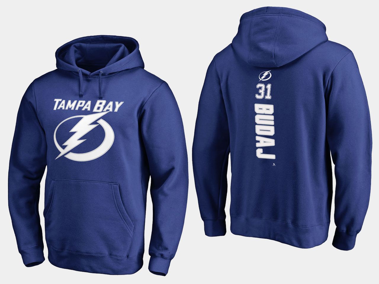 NHL Men adidas Tampa Bay Lightning 31 Budaj blue hoodie