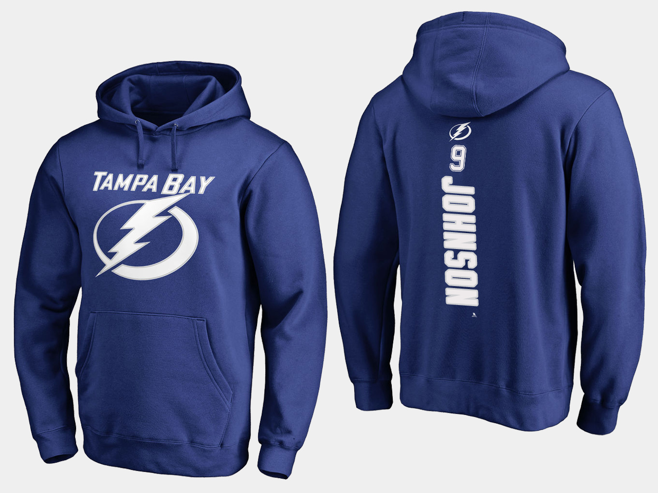NHL Men adidas Tampa Bay Lightning 9 Johnson blue hoodie