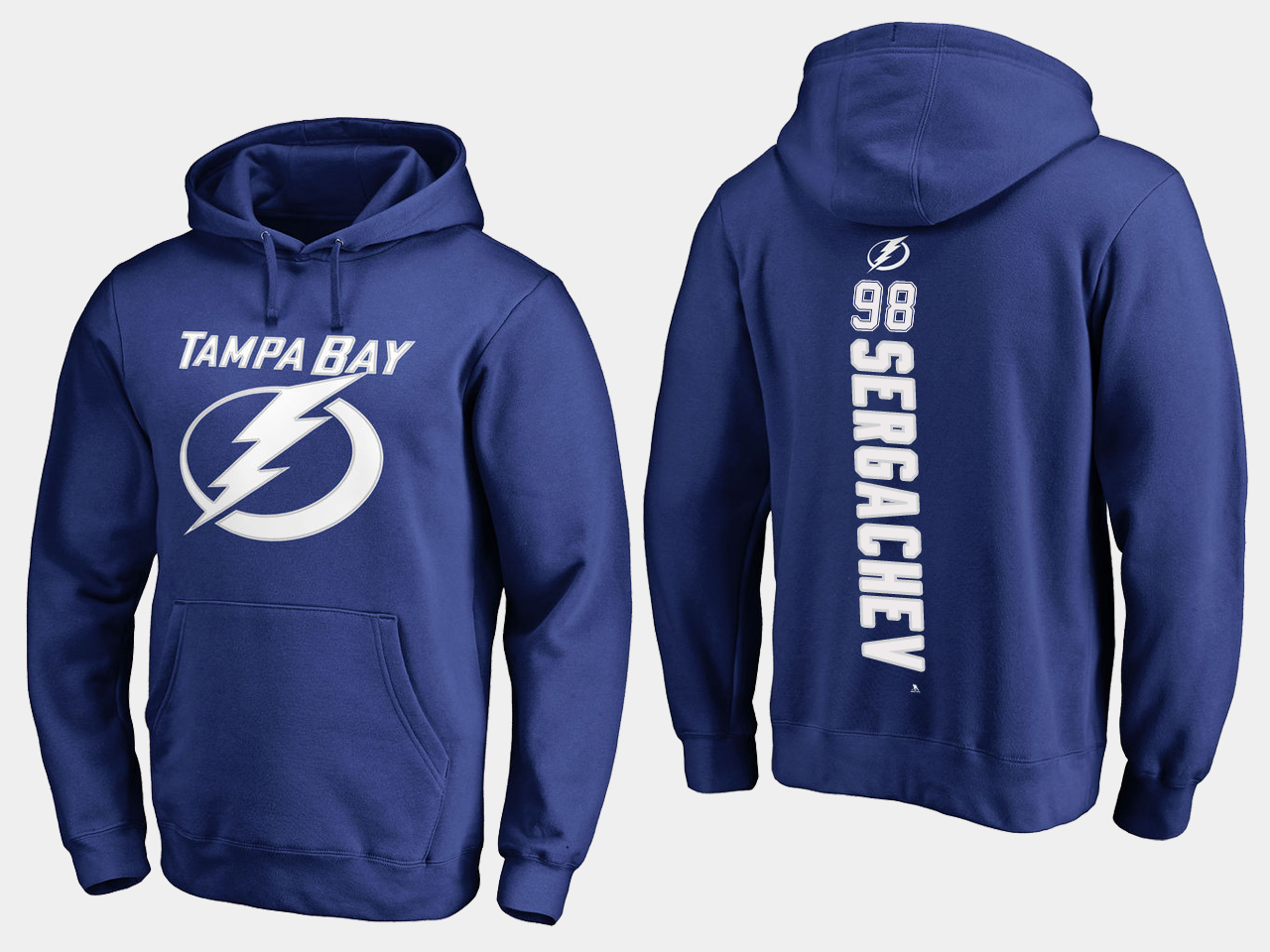 NHL Men adidas Tampa Bay Lightning 98 Sergachev blue hoodie