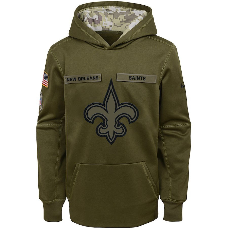 New Orleans Saints Nike Youth Salute to Service Pullover Performance Hoodie Green