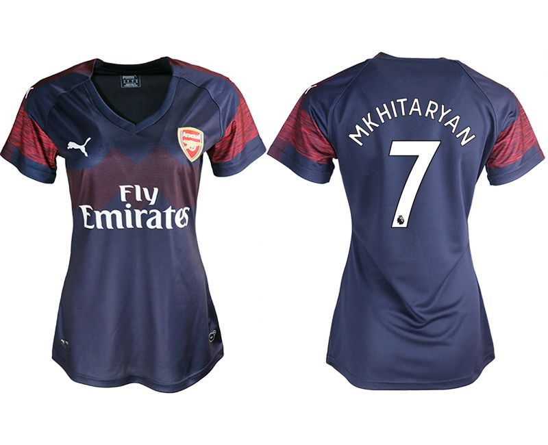 Women 2018-2019 club Arsenal away aaa version 7 blue soccer jerseys