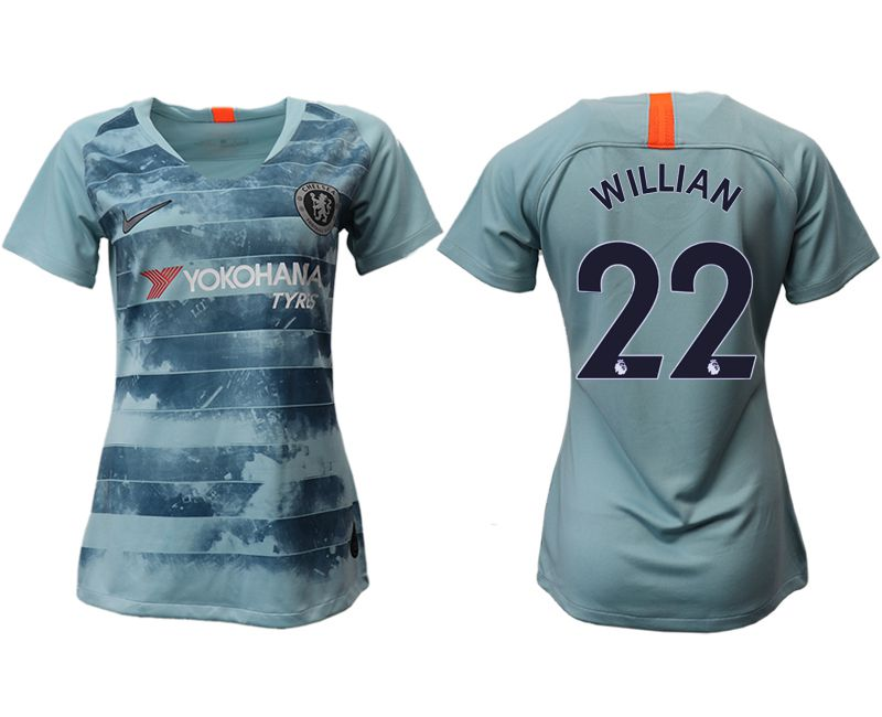 Women 2018-2019 club Chelsea Second away aaa version 22 blue soccer jersey