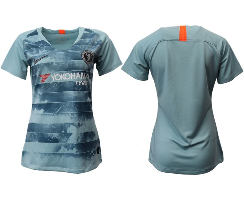 Women 2018-2019 club Chelsea Second away aaa version blue soccer jersey