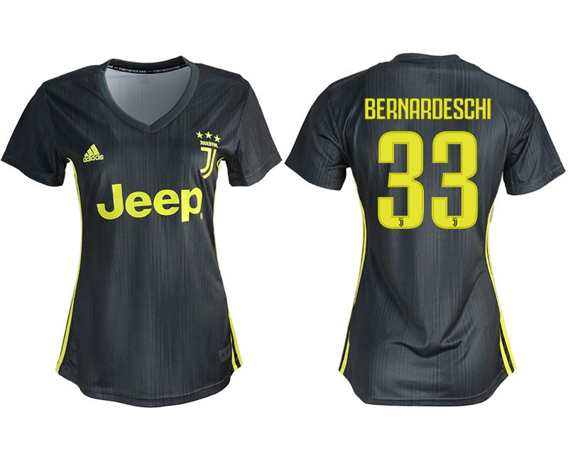 Women 2018-2019 club Juventus away aaa version 33 black soccer jerseys