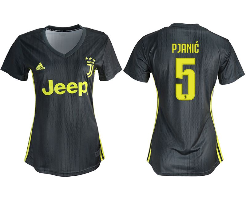 Women 2018-2019 club Juventus away aaa version 5 black soccer jerseys
