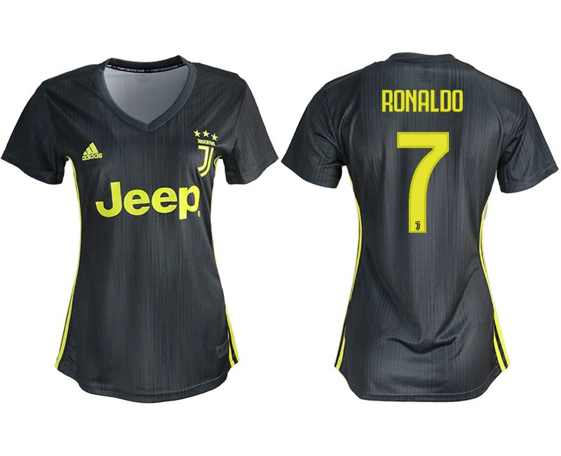 Women 2018-2019 club Juventus away aaa version 7 black soccer jerseys