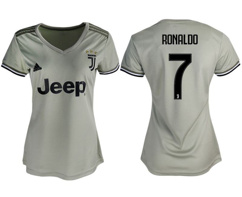 Women 2018-2019 club Juventus away aaa version 7 white soccer jerseys