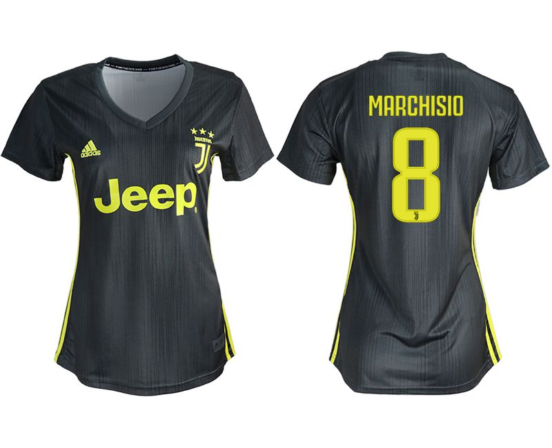 Women 2018-2019 club Juventus away aaa version 8 black soccer jerseys