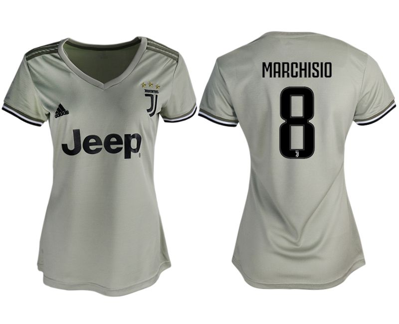 Women 2018-2019 club Juventus away aaa version 8 white soccer jerseys
