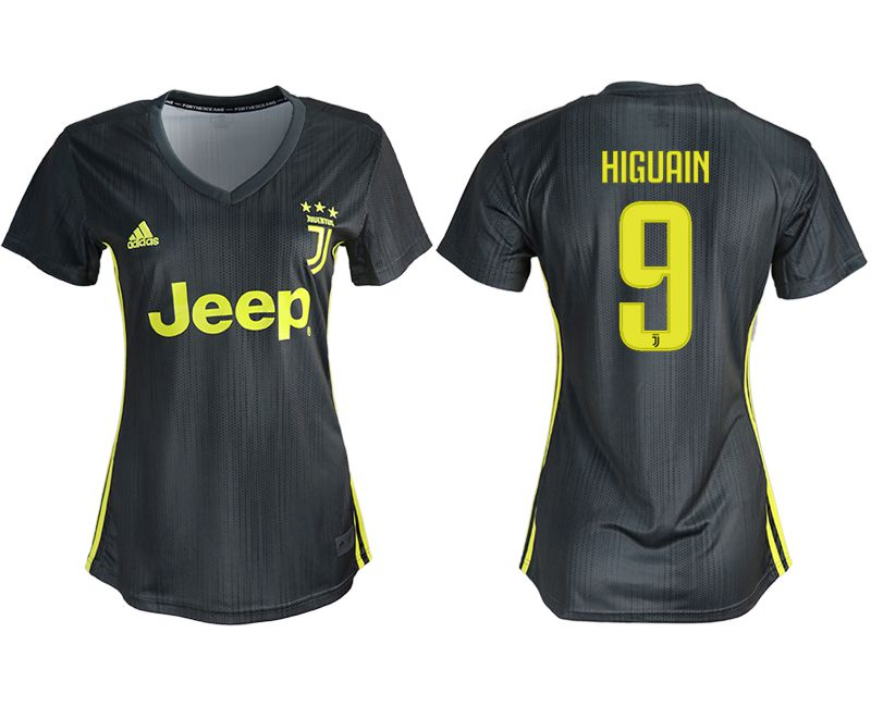 Women 2018-2019 club Juventus away aaa version 9 black soccer jerseys