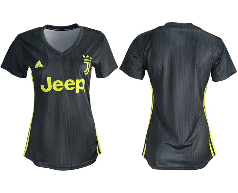 Women 2018-2019 club Juventus away aaa version black soccer jerseys