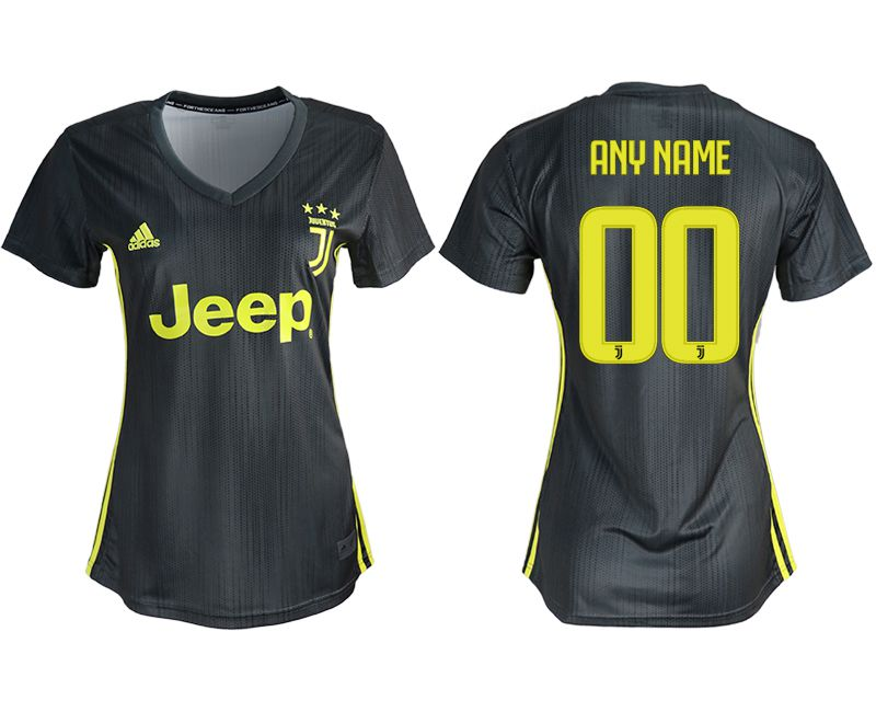 Women 2018-2019 club Juventus away aaa version customized black soccer jerseys