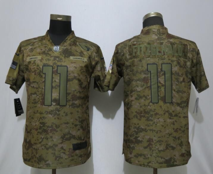 Women Arizona Cardinals 11 Fitzgerald Nike Camo Salute to Service Limited NFL Jersey