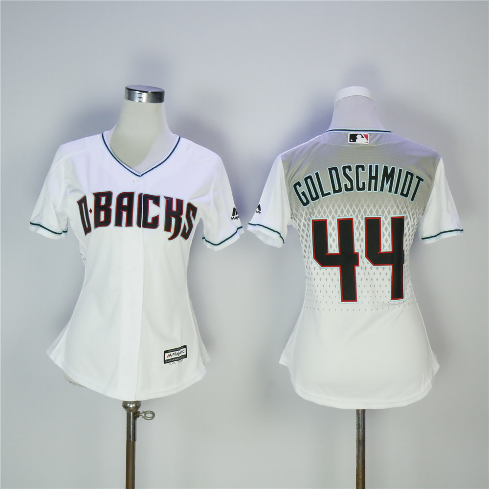 Women Arizona Diamondback 44 Goldschmidt White MLB Jerseys