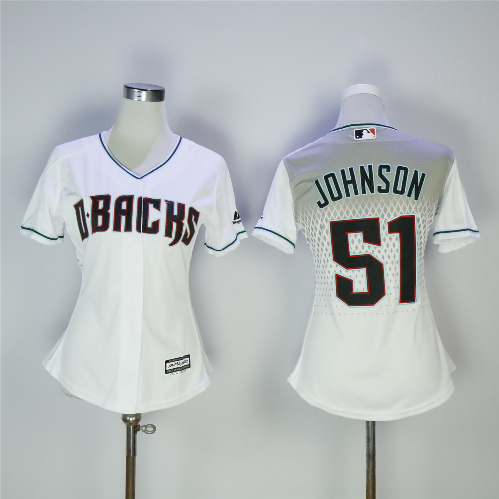 Women Arizona Diamondback 51 Johnson White MLB Jerseys