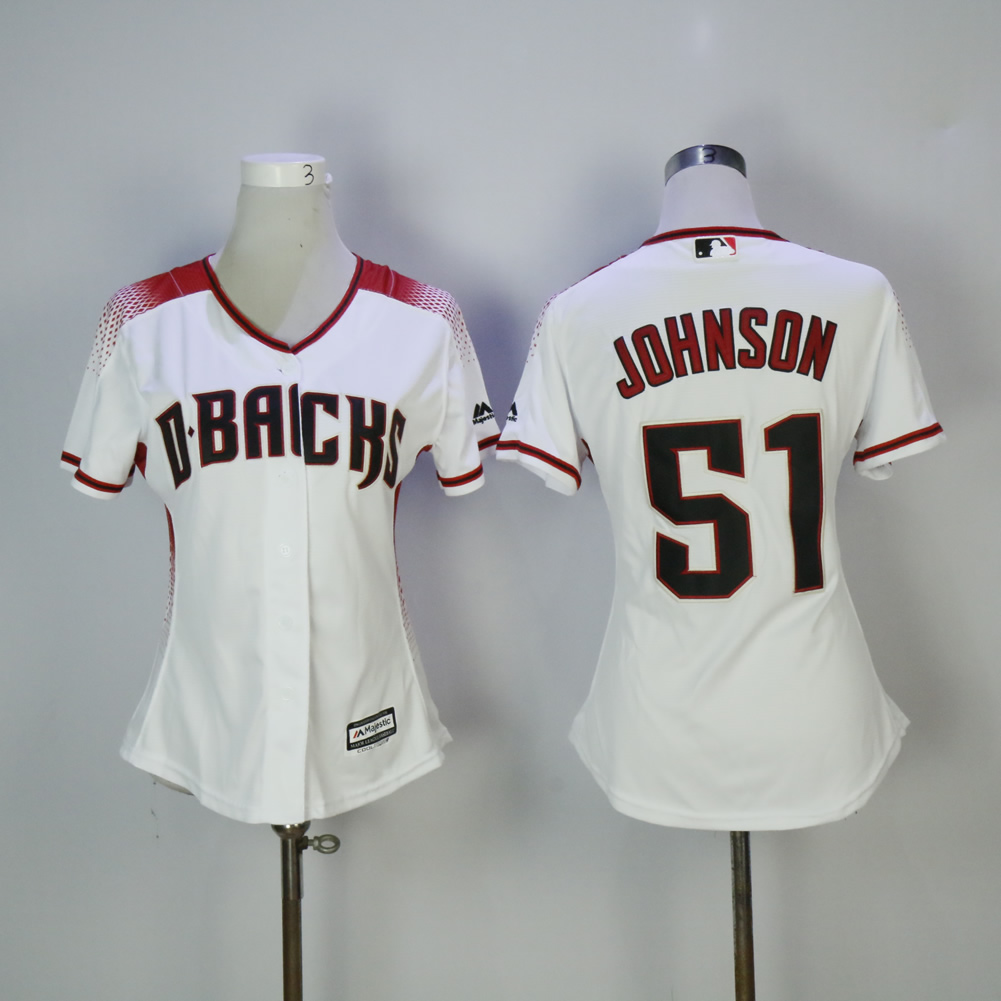 Women Arizona Diamondback 51 Johnson White MLB Jerseys1