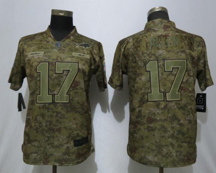 Women Buffalo Bills 17 Allen Nike Camo Salute to Service Limited Jersey