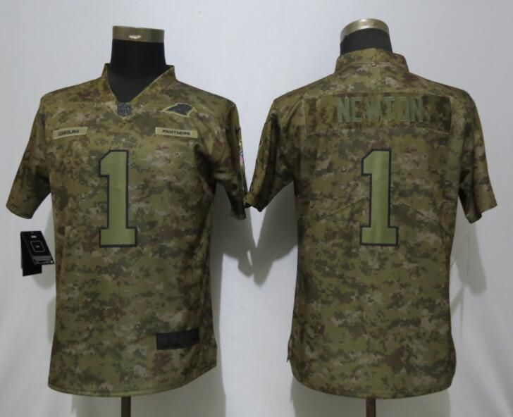 Women Carolina Panthers 1 Newton Nike Camo Salute to Service Limited NFL Jersey