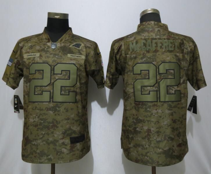 Women Carolina Panthers 22 McCaffrey Nike Camo Salute to Service Limited NFL Jersey