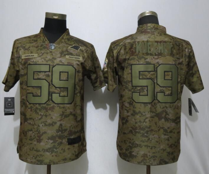 Women Carolina Panthers 59 Kuechly Nike Camo Salute to Service Limited NFL Jersey