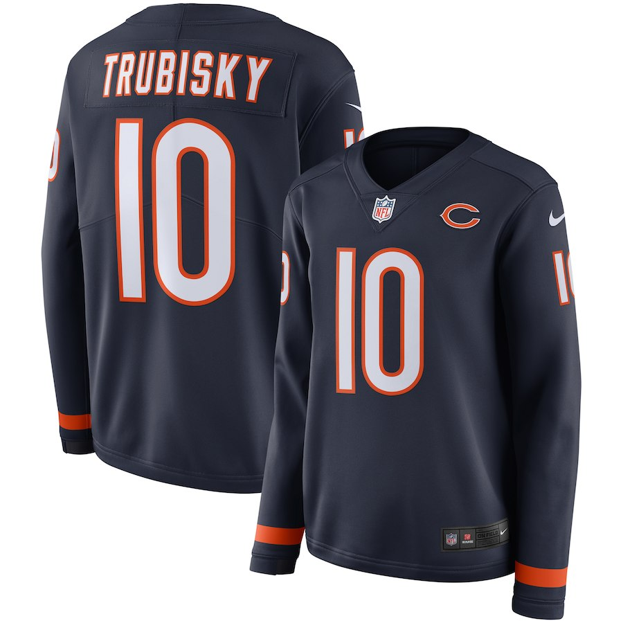 Women Chicago Bears 10 Trubisky blue Limited NFL Nike Therma Long Sleeve Jersey