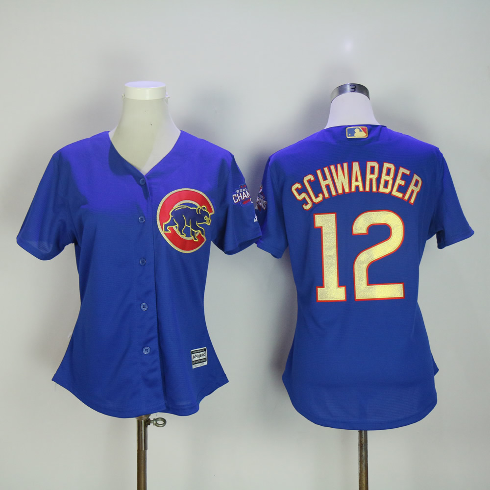 Women Chicago Cubs 12 Schwarber Blue Champion MLB Jerseys