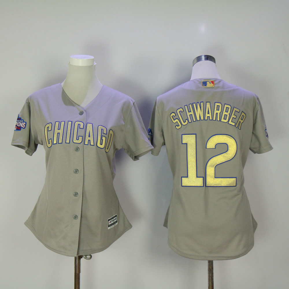 Women Chicago Cubs 12 Schwarber Grey Champion MLB Jerseys