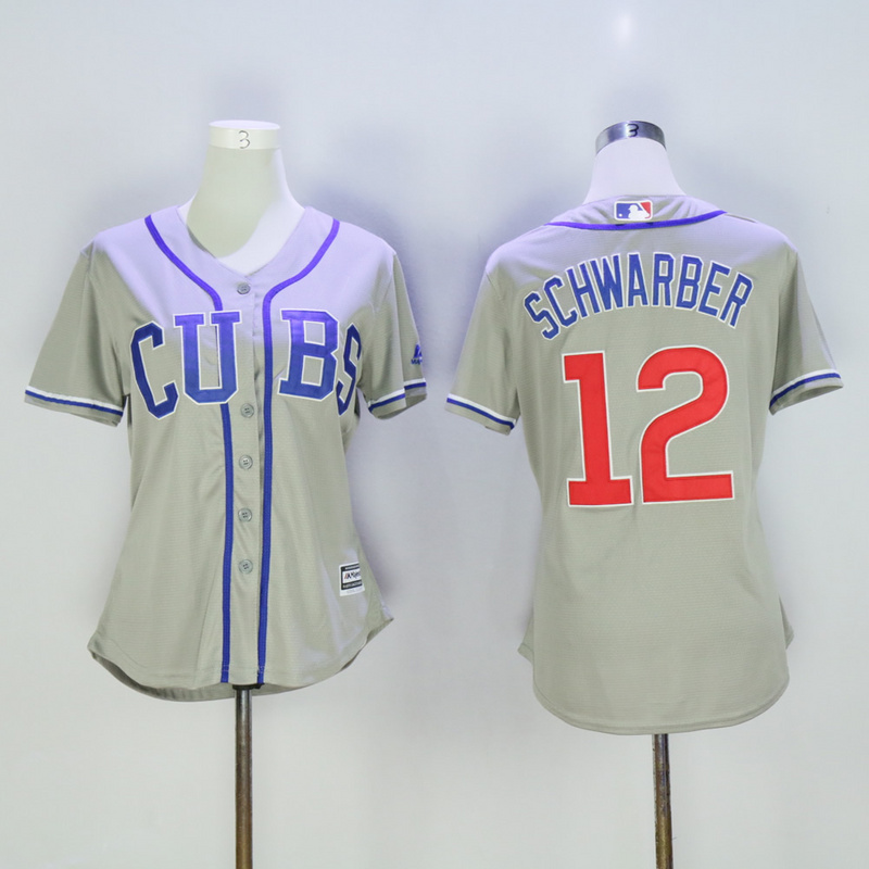 Women Chicago Cubs 12 Schwarber Grey MLB Jerseys