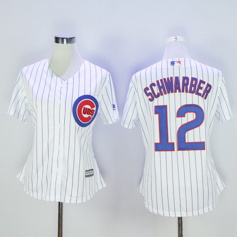 Women Chicago Cubs 12 Schwarber White MLB Jerseys