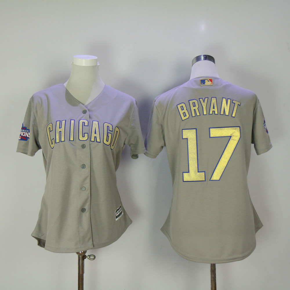 Women Chicago Cubs 17 Bryant Grey Champion MLB Jerseys