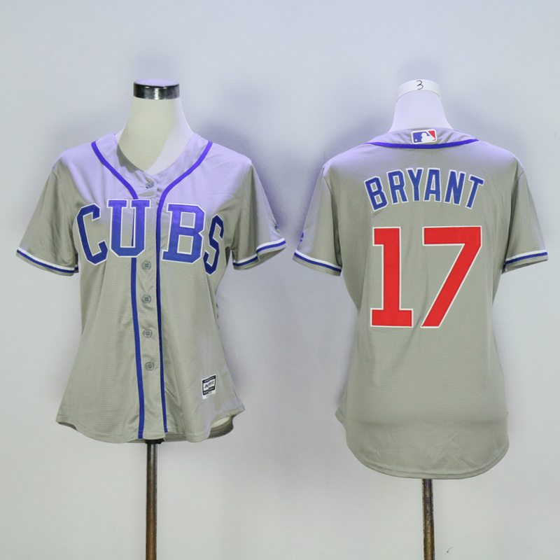Women Chicago Cubs 17 Bryant Grey MLB Jerseys