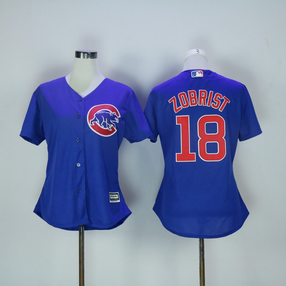 Women Chicago Cubs 18 Zobrist Blue MLB Jerseys