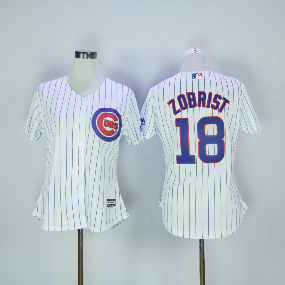 Women Chicago Cubs 18 Zobrist White MLB Jerseys